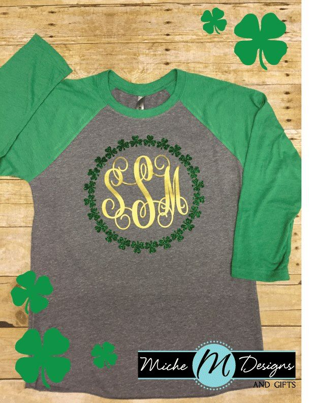846fb1c3 Monogram Shamrock St. Patricks Day Shirt - Miche Designs and Gifts
