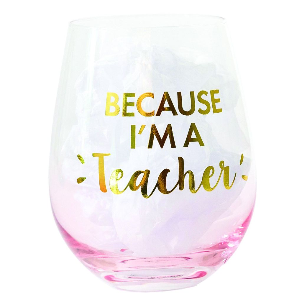 5ef08cc1420 GLASS STEMLESS WINE IM A TEACHER - Miche Designs and Gifts