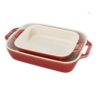 Staub Staub Ceramic Rectangular Baking Dish 2pc Set Rustic Red