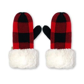 PUDUS PUDUS Classic Mittens Lumberjack Red - Kids CLOSEOUT