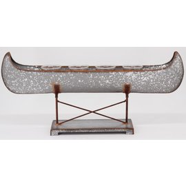 DeRose Designs Derose Designs Galvanized Metal Canoe with 4 Glass Votive Holders 21 inch