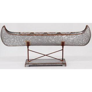 DeRose Designs Derose Designs Galvanized Metal Canoe with 4 Glass Votive Holders 21 inch CLOSEOUT