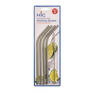 Harold Import Company Inc. HIC Stainless Steel Straws set of 4 with cleaning brush
