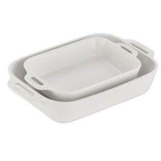 Staub Staub Ceramic Rectangular Baking Dish 2pc Set Matte White