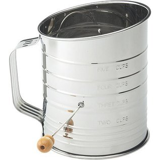 Harold Import Company Inc. HIC 5 Cup Crank Sifter Stainless Steel