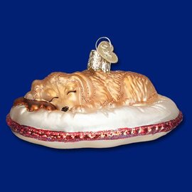 Old World Christmas OWC Dog Tired Ornament CLOSEOUT
