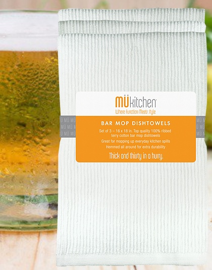 MUkitchen MuKitchen Bar Mop Dish Towels Set of 3 White