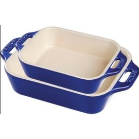 Staub Staub Ceramic Rectangular Baking Dish 2pc Set Dark Blue