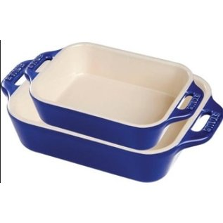 Staub Staub Ceramic Rectangular Baking Dish 2pc Set Dark Blue