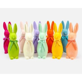 "One Hundred 80 Degrees Flocked Button Nose Bunny 16"" Assorted"