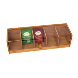 Lipper Lipper Bamboo Tea Box with Acrylic Cover