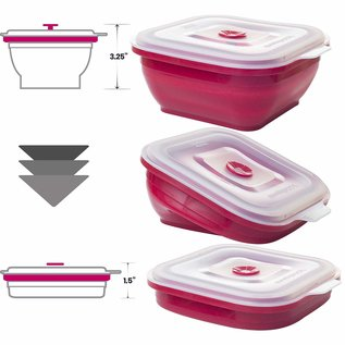 Collapse It Collapse It 4 Cup Square Red Container