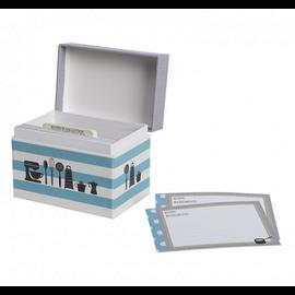 CR Gibson CR Gibson Kitchen Gear Recipe File Box Blue Stripe