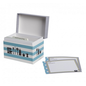 CR Gibson CR Gibson Kitchen Gear Recipe File Box Blue Stripe DISCONTINUED
