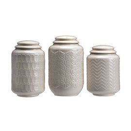 DeRose Designs DeRose Designs Ceramic Multi Design Cream Canister 3 pc Set CLOSEOUT