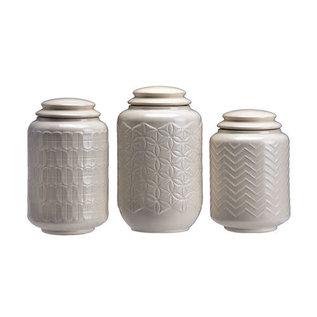 DeRose Designs DeRose Designs Ceramic Multi Design Cream Canister 3 pc Set