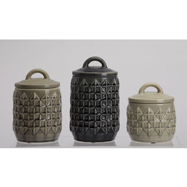 DeRose Designs DeRose Designs Ceramic Diamond Pattern Canister 3 pc Set CLOSEOUT
