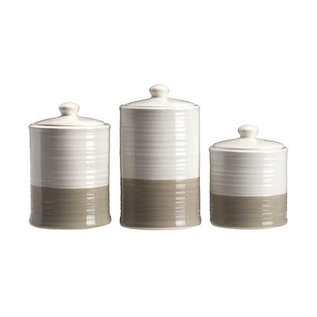 DeRose Designs DeRose Designs Ceramic Two Tone White & Gray Canister 3 pc Set  CLOSEOUT