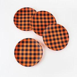 One Hundred 80 Degrees Orange Black Gingham Melamine Paper Plates set of 4 Assorted