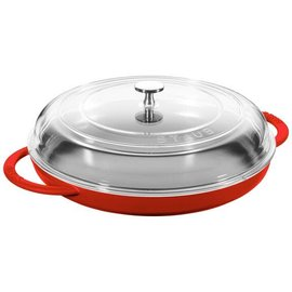 Staub Staub Cast Iron Round Steam Griddle with Glass Lid 12 inch Cherry