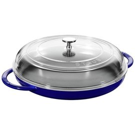 Staub Staub Cast Iron Round Steam Griddle with Glass Lid 12 inch Dark Blue