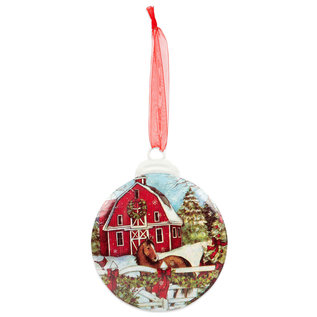 Brownlow Gifts Susan Winget Ornament Barn with Horse