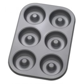 Harold Import Company Inc. HIC Donut Pan 6 Cup, Nonstick Carbon Steel