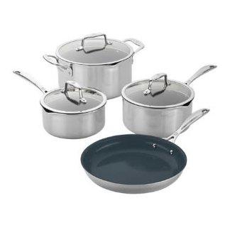 Zwilling J.A. Henckels Zwilling Clad CFX  Stainless Steel Ceramic Nonstick Cookware 7 piece Set