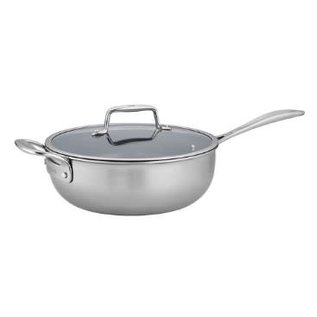 Zwilling J.A. Henckels Zwilling Clad CFX Stainless Steel Ceramic Nonstick 4.5 Qt Perfect Pan with Glass Lid