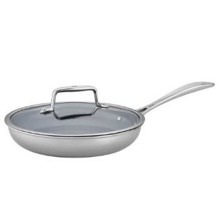 """Zwilling J.A. Henckels Zwilling Clad CFX Stainless Steel Ceramic Nonstick 9.5"""" Fry Pan with Lid"""