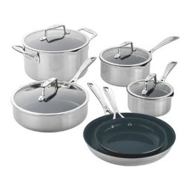 Zwilling J.A. Henckels Zwilling Clad CFX Stainless Steel Ceramic Nonstick Cookware 10 piece Set