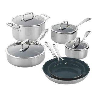 Zwilling J.A. Henckels Zwilling Clad CFX Stainless Steel Ceramic Nonstick Cookware 10 piece Set