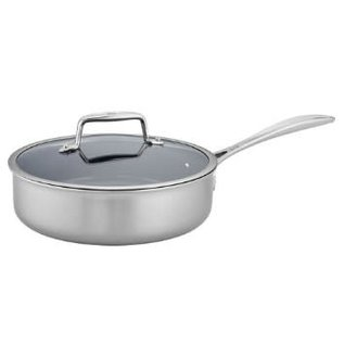 Zwilling J.A. Henckels Zwilling Clad CFX Stainless Steel Ceramic Nonstick Saute Pan 3 Qt with Lid