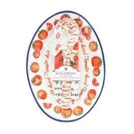 Le Cadeaux Le Cadeaux Tomato Salad Oval Platter w Servers & Matching Recipe Tea Towel Gift Set