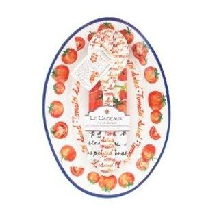 Le Cadeaux Le Cadeaux Tomato Salad Oval Platter w Servers & Matching Recipe Tea Towel Gift Set