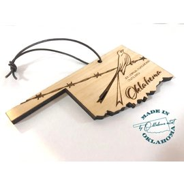 White Peacock Productions State of Oklahoma Engraved Ornament Scissortail Flycatcher