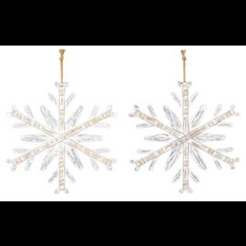 "Hanna's Metallic Wood Snowflake Hanger Assorted 15.5"""