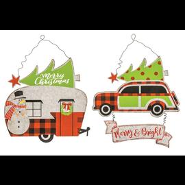 "Hanna's Retro Christmas Car or Camper Metal Hanger Assorted 12""x12""x0.25"" CLOSEOUT/NO RETURNS"