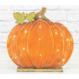 "Hanna's Wood Glimmer Pumpkin withe LEDs 13.5""x2.25"""