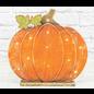 "Hanna's Wood Glimmer Pumpkin withe LEDs 13.5""x2.25"""