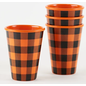 One Hundred 80 Degrees One Hundred 80 Degrees Orange Black Gingham Melamine Shot Glass set of 4