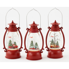 One Hundred 80 Degrees One Hundred 80 Degrees Lighted Glitter Swirl Lantern 7 inch Red Assorted SOLD INDIVIDUALLY