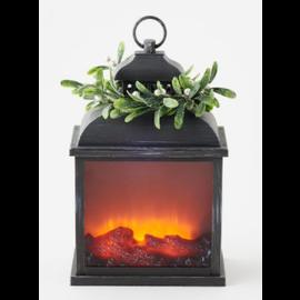 """One Hundred 80 Degrees One Hundred 80 Degrees LED Firelight Lantern w/ Mistletoe Wreath 10"""" x 15"""""""