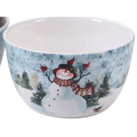 "Certified International Certified International Watercolor Snowman Ice Cream Bowl Assorted 5.5"" x 3"""
