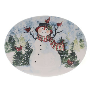 Certified International Certified International Watercolor Snowman Oval Platter 16 in x 12  in