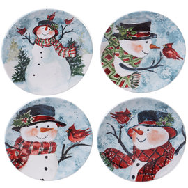 Certified International Certified International Watercolor Snowman Dessert Plate Assorted 9 inch