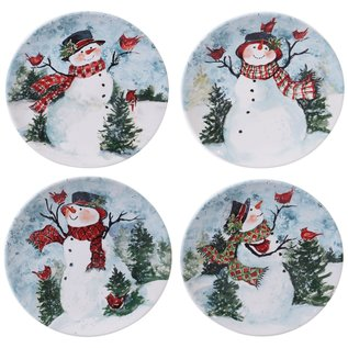 Certified International Certified International Watercolor Snowman Dinner Plate Assorted 11 inch
