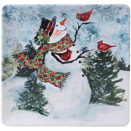 Certified International Certified International Watercolor Snowman Square Platter 12.5 inch