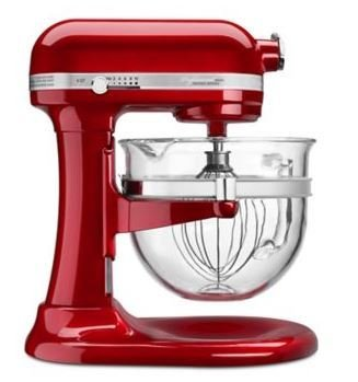 KitchenAid Stand Mixer Pro 6500 6 Qt Glass Bowl Candy Apple Red KSM6521XCA