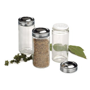 RSVP RSVP Glass Spice Jar with Chromed Steel Lid 3 oz Clear